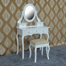 White Bedroom Furniture Wooden Modern Mirrored Vanity Dressing Table With a Stool