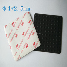 Black Round Silicone Rubber Feet Pad With 3M Adhesive Tape