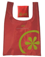 Cheap personalized attached Pouch Polyester collapsible polyester shopping bag in snap pouch