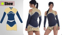 2015 new manufacture digital sublimation long sleeve cheerleading wear