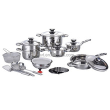 21pcs 304 stainless steel queen cooking pot/ bowl/ spatula wide edge series well equipped kitchen cookware set