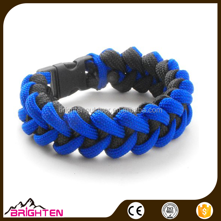Custom Wholesale colorful braided Cross Survival Paracord bracelet