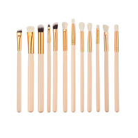 12 pieces rose golden brush set for eyeshadow eyeliner pencil in stock