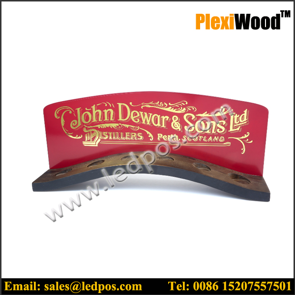 curved wooden display stand for restaurants pubs and bars product display