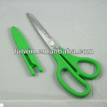 New green plastic handle household scissors with cover