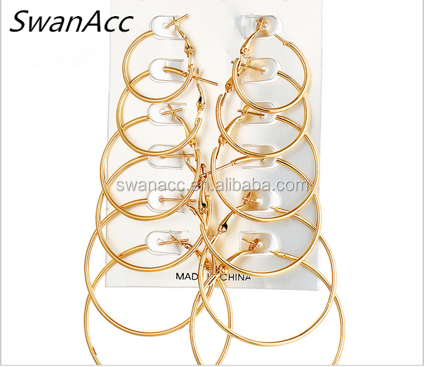Fashion Steampunk Vintage Gold Color Big Circle Hoop Earrings for Women 6 Pair/set Ear Clip Party Jewelry Accessories Gift