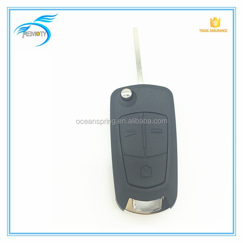 Car key Modified Flip Remote German Opel 3 buttons replaceable key blank with HU100 blade key blank cover