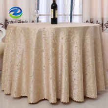 Luxury Wholesale Jacquard 132 Round Champagne Tablecloths For Wedding