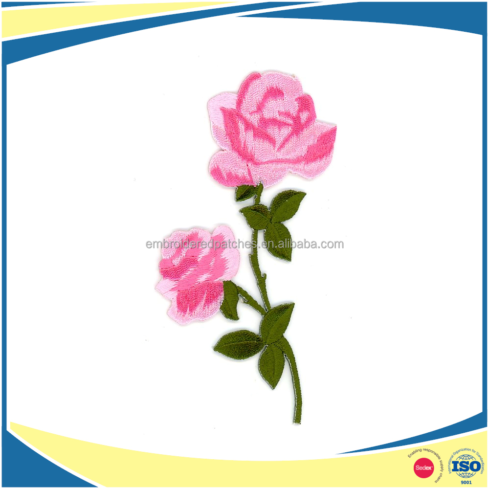 Custom embroidery rose flower logo patch with velcro-on backing for jacket