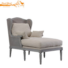 Comfortable Rattan Furniture Retro Linen Wood Ro Armrest Upholstered Chaise Lounge Chair With Footrest
