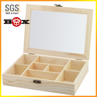 8 Compartment Rustic Dark Brown Wooden Tea / Coffee / Storage Box with Transparent Lid