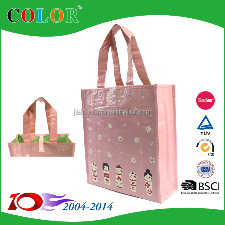 160gsm pp woven laminated resuable shopping tote bag