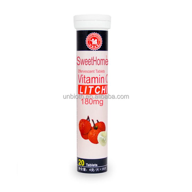 Health product Vitamin C 180mg effervescent tablets Litchi Immune supplement OEM