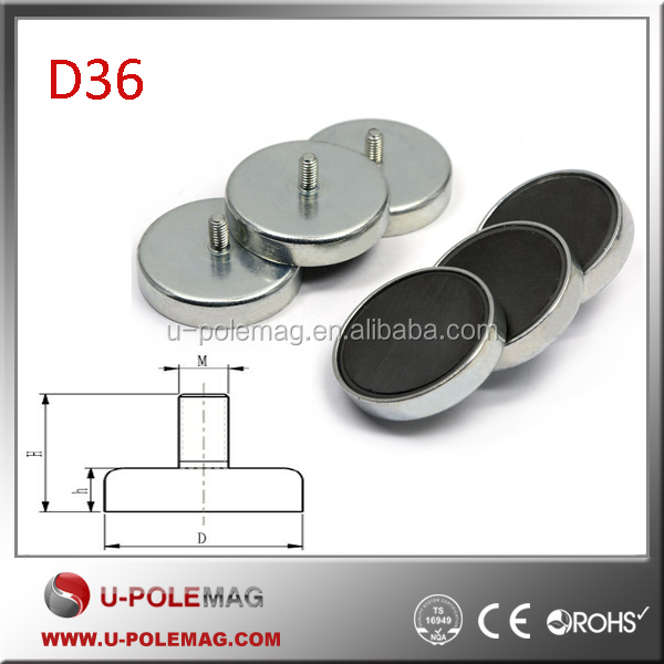 D36mm Ceramic Cup Magnets/Ferrite Pot Magnet with Male Threaded Stud