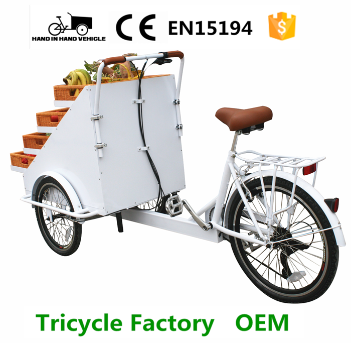 Special cargo cycling three wheels vending trike with fruits basket