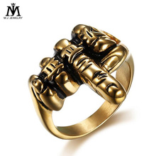 Hiphop Stainless Steel Gold Plated Biker Middle Finger Rings Jewelry