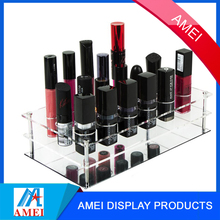 2017 hot clear acrylic lip gloss display rack with mirror bottom
