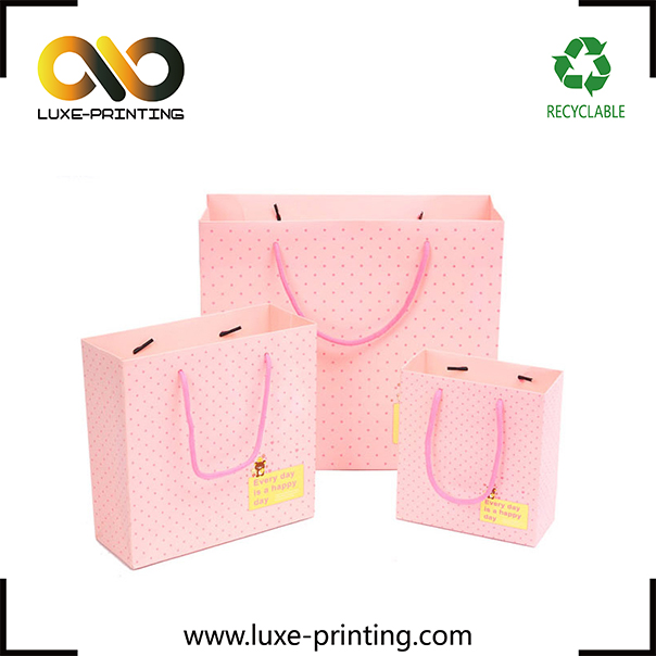 Professional printing your own logo apparel packaging paper bag with handle