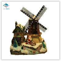 Polyresin Windmills with House & Waterwheel wiht Led Lights & Music
