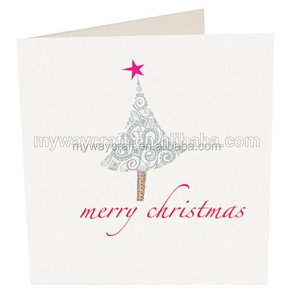 merry christmas tree design in silver and pink color paper cards