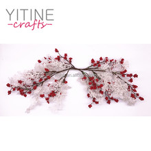 "25"" Decorative Christmas Glitter White Leaves Floral Berry Picks for Christmas Wreath Decoration"