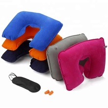 flocking Comfortable inflatable travel pillow Travel Neck Pillow Travel Plane Flight U-shaped head neck Pillow