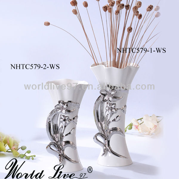NHTC579-1-2-WS New Item Ceramic White and silver elctro-plated Wholesale Vases