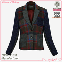 polyester/wool yarn dyed custom college jackets with check and long sleeve