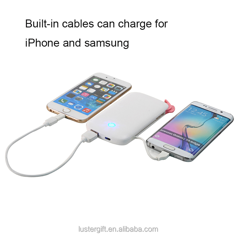 New products 2016 innovative product 6000mAh Built-in cable power bank rechargeable battery for iPhone 6 / 6S