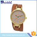 2017 New design women watches with pu leather long service life
