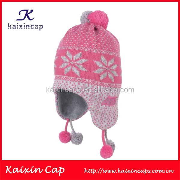 custom children beanie hat/beanie cap with flower designs knit/Children winter hat handmade