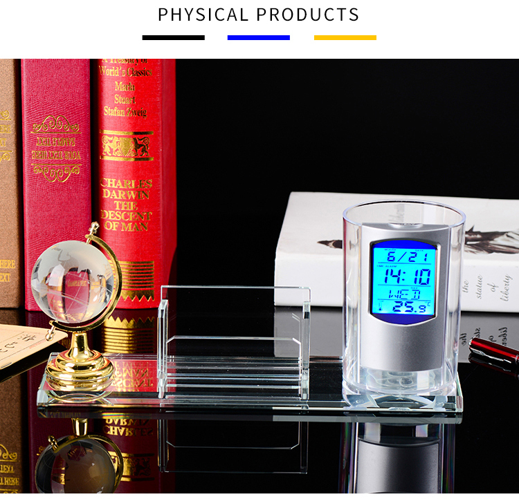 Hot Sale Fashion Multi-functional K9 Crystal Clock Makkah & Clock Tower Model Souvenir for Gift Business
