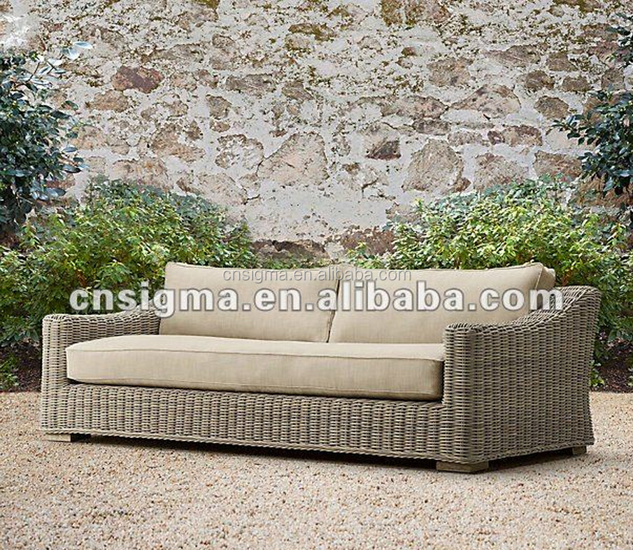 2017 American style double seat round rattan Loveseat sofa