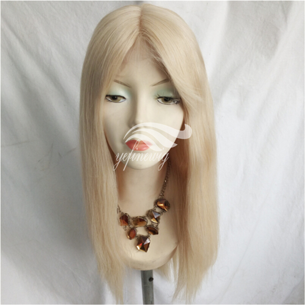 New Densign Natural Silk Top Stock Human Hair Full Lace Blonde Wig