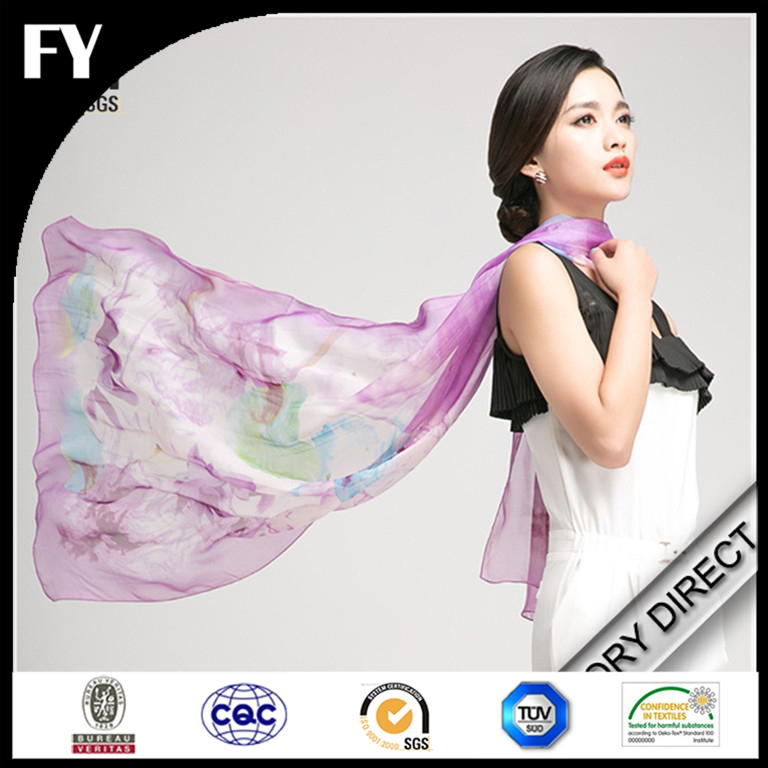 Custom digital printed 100 silk crepe de chine scarf with machine roll hemming