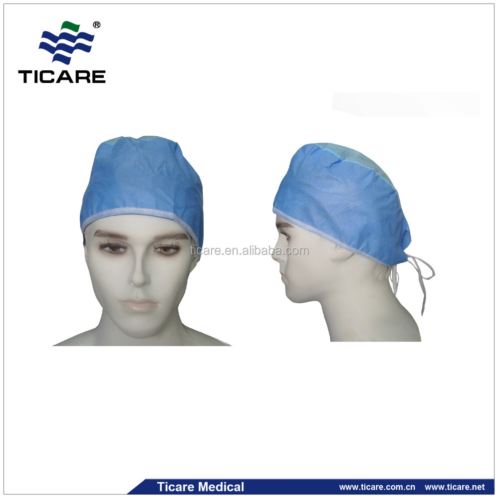 Blue Non Woven Elastic Back Disposable Surgeon Cap