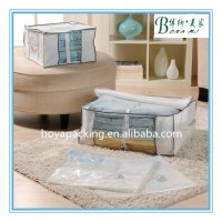Non-woven box with plastic vacuum storage compressed bag inside for clothes and bedding