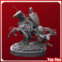 Decoration mental bronze solider horse statues for sale