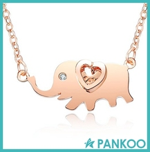 925 Silver Jewelry, Zircon Elephant Shape Animal Necklace Wholesale