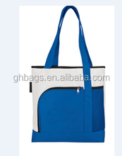 Fashional wholesale 600D polyester Shopping tote Bag with front zipper pocket