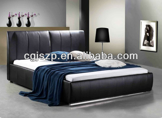 black leather bed with Vertical line