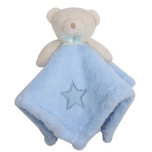 Safe and harmless plush bear animal baby blanket China baby security blanket with animal toy