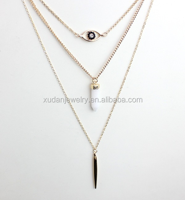 Fashion Exquisite Multi Layers Geometric Chains Necklaces & Pendant Women Metal Bar & Stone Accessories Jewelry