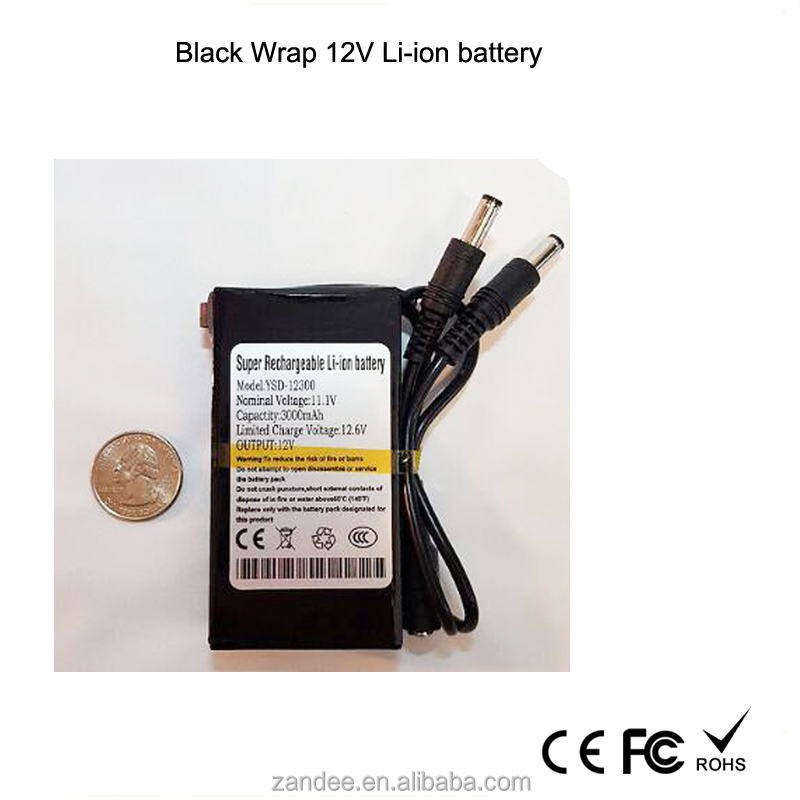 Customized shape rechargeable battery lithium ion 12v battery pack for cctv camera,LED strips