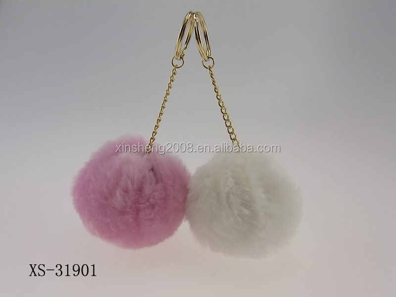 Fashion accessory customize colorful fur balls metal keychains