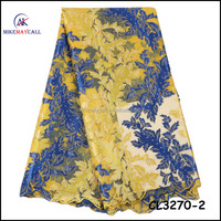 CL3270-2 Mikemaycall Yellow and blue color stones lace fabric/wedding tulle french lace