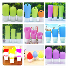 Custom Printing Silicone Travel Squeeze Message Cosmetic Lotion Essential Oil Shampoo Bottle Set