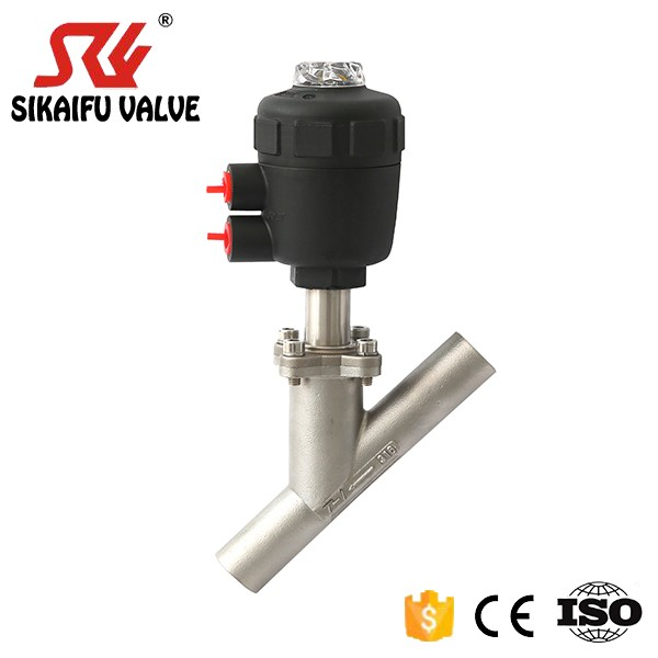 "Stainless Steel Welding Pneumatic Valve Plastic Actuator DN65 2 1/2"" Angle Seat Valve Y-type"