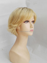 new arrival white people wigs highlight brown blonde color synthetic wigs short wigs