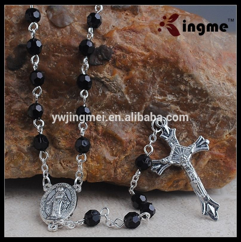Black 6mm Plastic Beads Mens Rosary with Miraculous Center Piece for Men